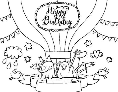 Dibujo de Tarjeta de Feliz Cumpleaños para Colorear