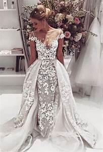 robe mariage detachable skirt ivory white wedding dress With robe mariage nude