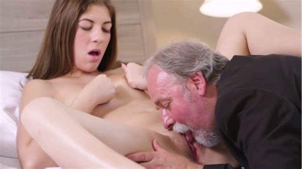 #Long #Haired #Brunette #Sweetie #Got #Pussy #Licking #From #Old #Man