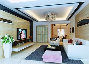 Pop ceiling decor in living room with simple designs for Simple ceiling design for small living room