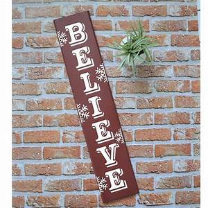 Believe, With, Snowflakes, Vertical, Sign