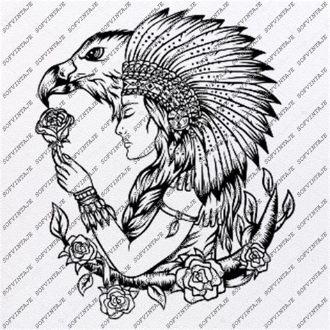 Unfortunately, far too often, native american women get overlooked. Native American Girl Svg File-Eagle Original Svg Design ...