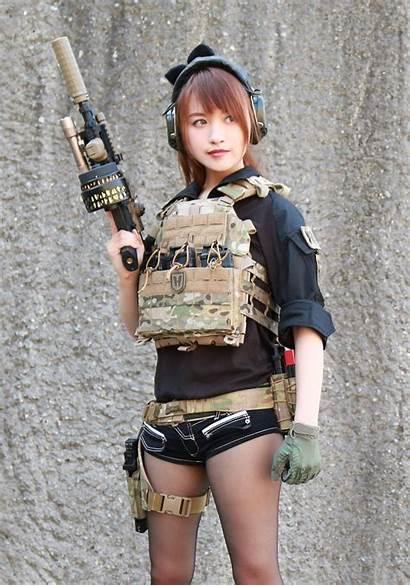 Military Nude Female Gunslinger Poses Asian Soldier