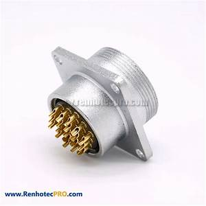 19 Pin Connector P24 Male Straight Socket Square 4 Holes