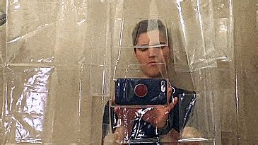 Tablet and Smart Phone Holding Shower Curtain