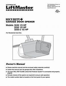 Chamberlain 2565c Garage Door Opener User Manual