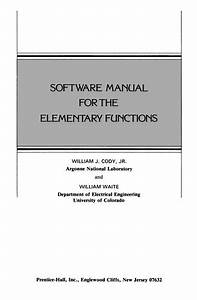 Software Manual For The Elementary Functions  1980 Edition