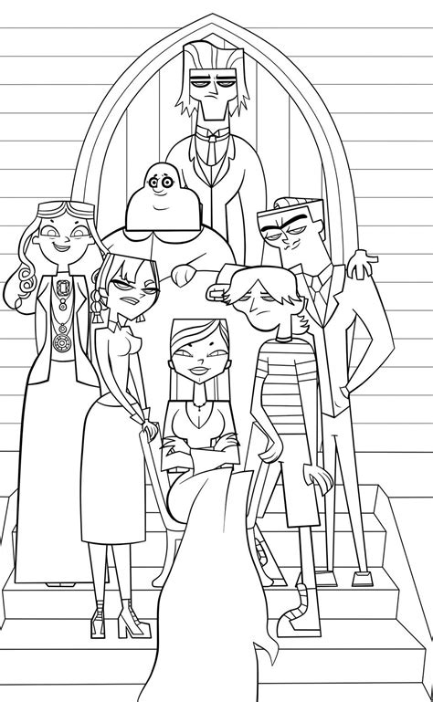 The Addams Family/Total Drama Island crossover coloring