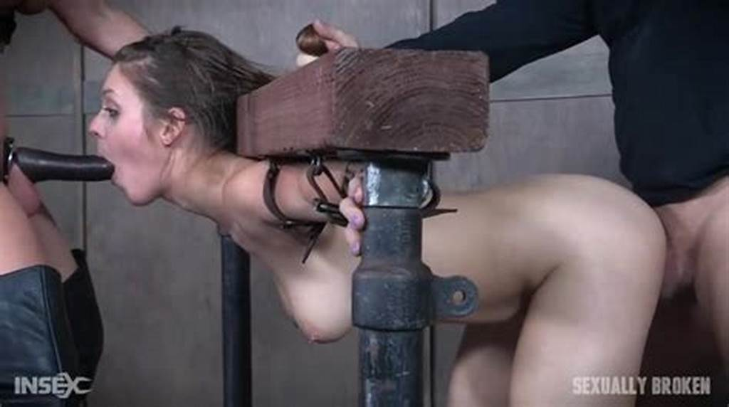 #Slave #Girl #Spit #Roasted #By #Strapon #And #His #Cock