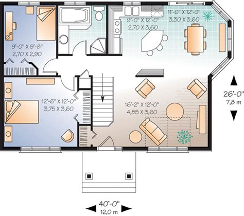 House Plan 65030 Traditional Style with 970 Sq Ft 2 Bed