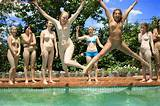 Nude pool party teens