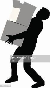 Silhouette Of A Man Carrying Cardboard Boxes Vector Art
