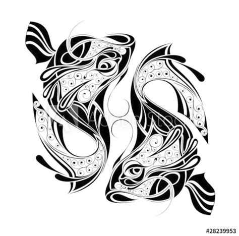 """""""Zodiac Wheel with sign of Pisces Tattoo design"""