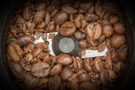 Ready for a coffee break? Partially Ground Fried Dark Coffee Beans In An Automatic Coffee Grinder, Food Background Stock ...