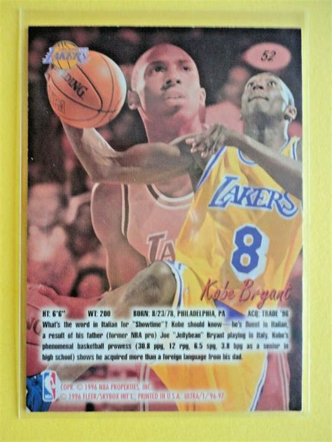 Kobe bryant rookie cards are some of the most beloved of the modern era. 96-97 Fleer Ultra Kobe Bryant RC Rookie Card # 52 Los ...