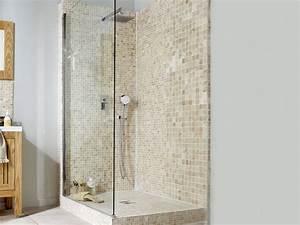 douche a l39italienne styles et tendances leroy merlin With porte de douche coulissante avec mosaique pate de verre salle de bain