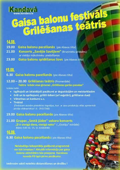 Kandavā šovasar notiks Gaisa balonu festivāls un grilēšanas teātris 14.08.2020 - 16.08.2020 ...