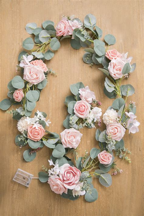 Eucalyptus Flower Garland with Fairy Lights 6 5FT Blush
