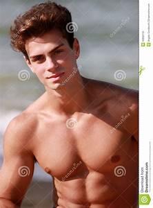 Beautiful And Muscular Young Man Shirtless Stock Photo