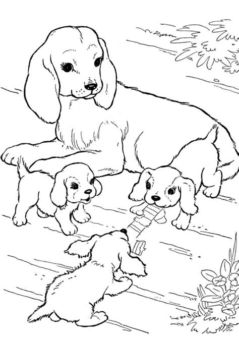 A Dog s Family high quality free coloring page from the