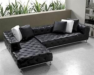 Modern Sofa Couch : black modern tufted leather sectional sofa set 44l0687 ~ Indierocktalk.com Haus und Dekorationen