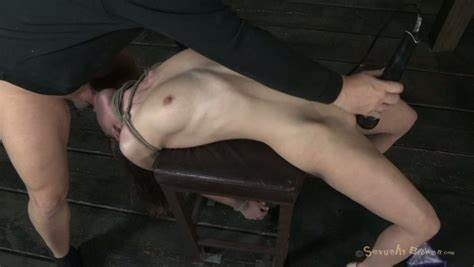 Submissive Brunette Tied Up Deepthroate And Pussy Drilled