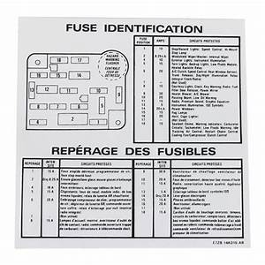 Mustang Fuse Id Decal  87-89