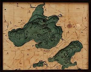 Cape Nautical Chart 3d Mendota And Monona Nautical Wood Map Depth Chart
