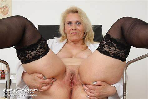 Naughty Sex At The Chair Yvonne Aged Old Voyeur Puss Masturbates At Gyno Clinic