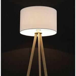 Lampe Sur Pied Scandinave : lampe sur pied de style scandinave trani en tissu blanc naturel ~ Teatrodelosmanantiales.com Idées de Décoration