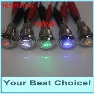16mm 12v Led Illuminated Car  Automotive Horn Push Button Switch No Wire
