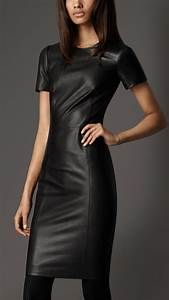 burberry fitted leather dress in black lyst With robe cuir sexy