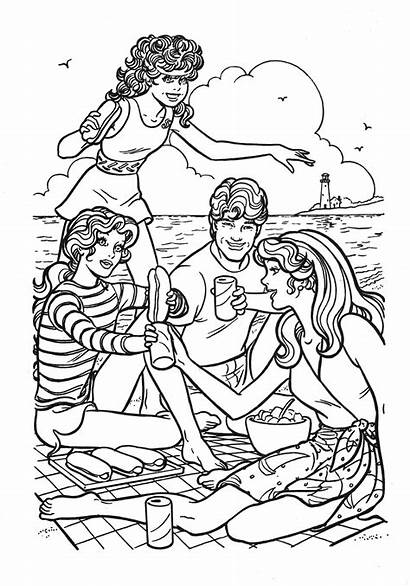 Barbie Coloring Ken Couple Pages Beach Perfect