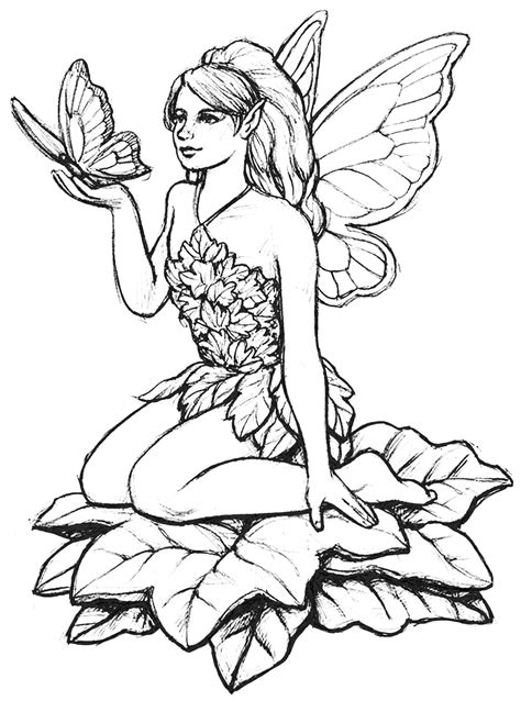 Fairy and butterfly Myths & legends Adult Coloring Pages