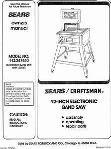 Craftsman 113247440 User Manual 12 Inch Electronic Band Saw Manuals And Guides L0706365