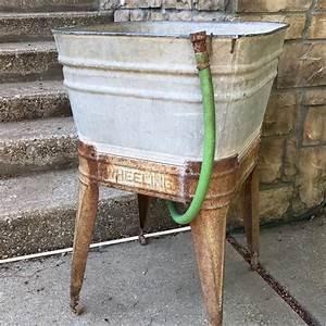 Vintage, Wheeling, Galvanized, Wash, Tub, With, Original, Hose, And, Wheels