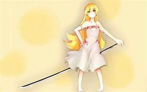 Blondes, Dress, Long, Hair, Weapons, Bakemonogatari, Vampires, Red, Eyes, Oshino, Shinobu, Anime
