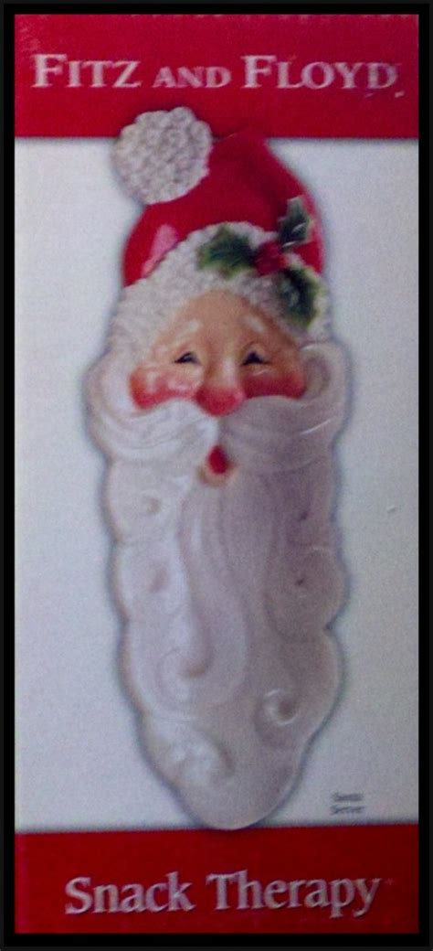foto de Fitz & Floyd Snack Therapy Santa Server NIB 2005 Long Face