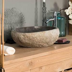 Vasque En Pierre : vasque poser en pierre naturelle galet de riviere 40 cm ~ Teatrodelosmanantiales.com Idées de Décoration