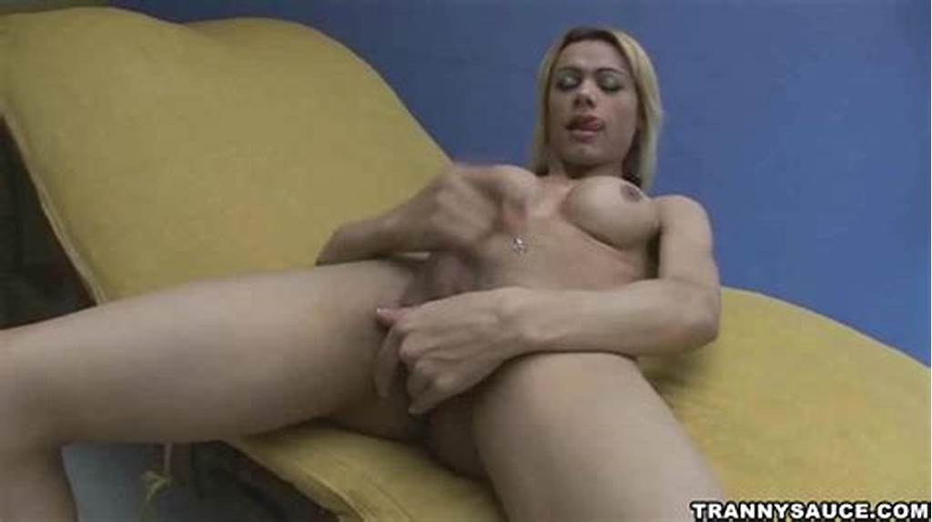 #Busty #Blonde #Shemale #Babe #Tugging #On #Her #Hard #Cock