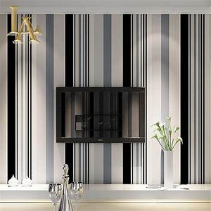 Black And White Striped Wallpaper Living Room ...