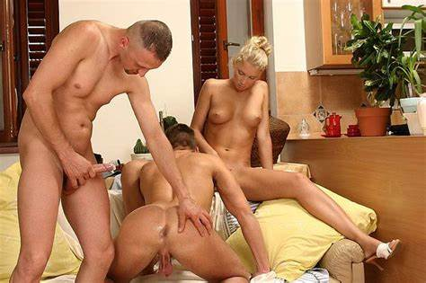 Bisexuals Swinger Three Youthful Schoolgirl