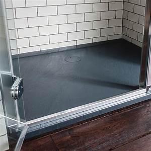Pose Receveur Extra Plat Sur Dalle Beton : receveur en acrylique effet ardoise ilex largeur 90 cm ~ Melissatoandfro.com Idées de Décoration