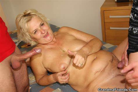 Blond Foxy Granny Takes A Teens Dong Up Her Twat