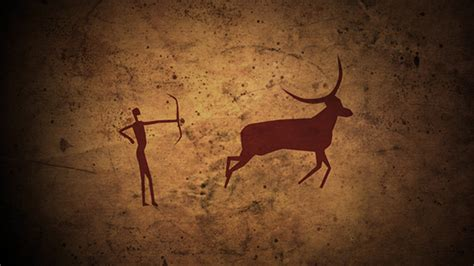 Prehistoric Caveman Hunting Animated Old Painting In Cave