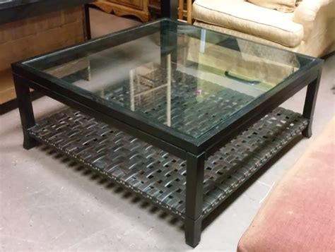 """Regardless of your style, is an elegant piece that adds a touch of class and distinction to your interior. UHURU FURNITURE & COLLECTIBLES: SOLD 42.5"""" Square Espresso Leather Woven Coffee Table with Glass ..."""