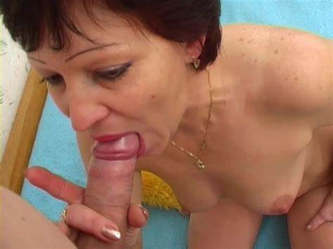 Breasty Mature Assistant Blows Slim Short Hair Dildo