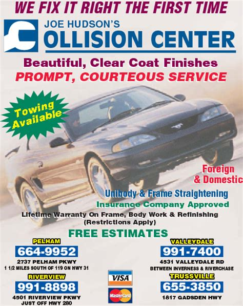 13 reviews of joe hudson's collision center first of all, watkins was recommended by my dealer after i was hit on the interstate. Joe Hudson's Collision Center 2737 Pelham Pkwy, Pelham, AL ...