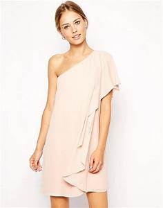 asos asos frill one shoulder shift dress With robe rose nude