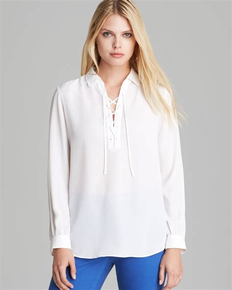 up blouse pics nydj lace up blouse in white lyst